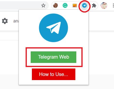 Open Telegram google chrome extension